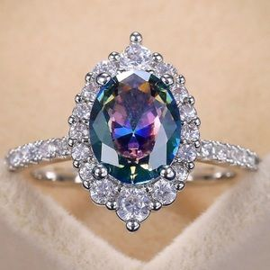 💍NEW 925 STERLING SILVER MYSTIC TOPAZ HALO RING💍